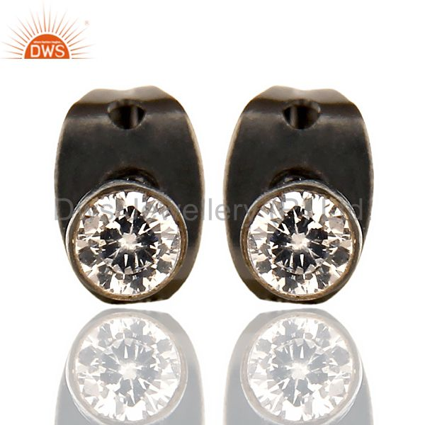 Black Rhodium Plated White Zircon Tiny 3MM Post Fashion Earrings