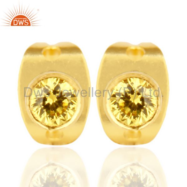 Yellow Zircon Tiny 3MM Post 14 K Gold Plated Fashion Earring,Quete Earring