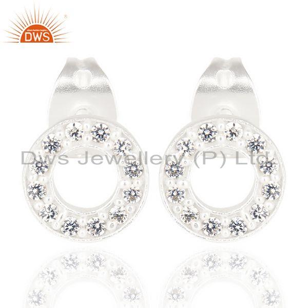 O Design 925 Sterling Fine Silver White Zircon Stud Earrings Wholesaler India