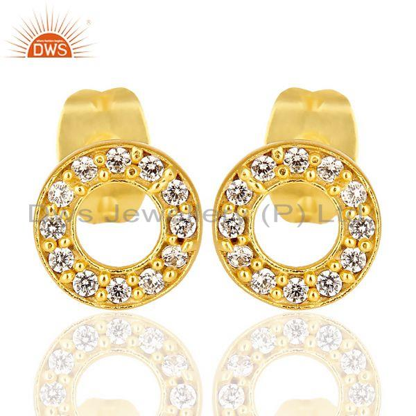 18k Gold Plated 92.5 Sterling Silver White Zircon O Stud Earrings Manufacturers