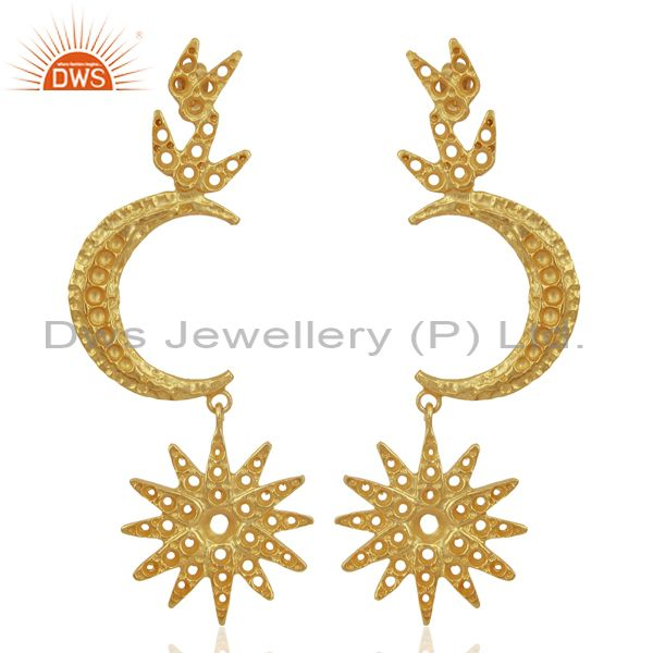 Indian Traditional Moon Design Gold Plated Brass Fashion Earrings