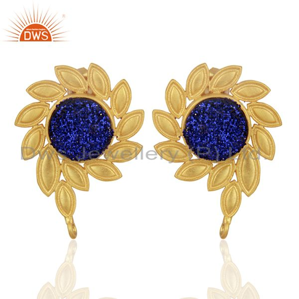 Blue Druzy Stud 18K Yellow Gold Plated Brass Earrings Fashion Jewelry