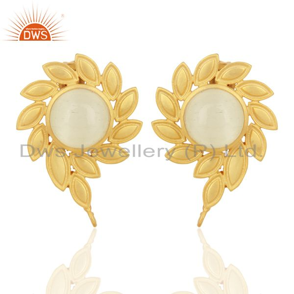 White Moonstone Stud 18K Yellow Gold Plated Brass Earrings Fashion Jewelry