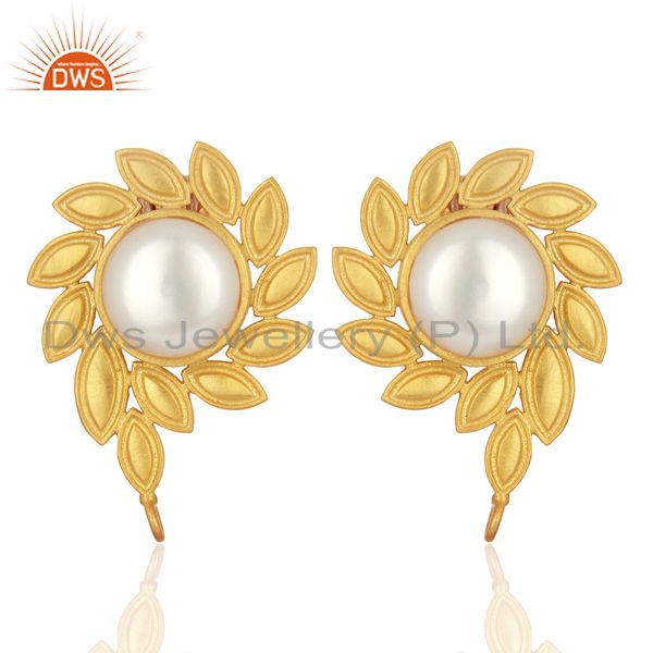 Pearl Stud 18K Yellow Gold Plated Brass Designer Earrings Fashion Jewelry