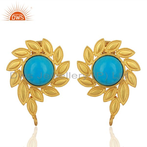Turquoise Stud 18K Yellow Gold Plated Brass Earrings Fashion Jewelry