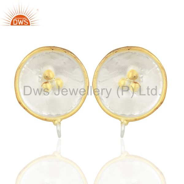14K Yellow Gold Plated Handmade Design Stud Finding Fashion Jewelry