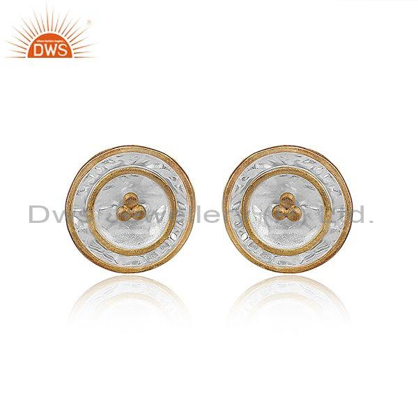 Gold On Fine Sterling Silver Round Classy Statement Earrings