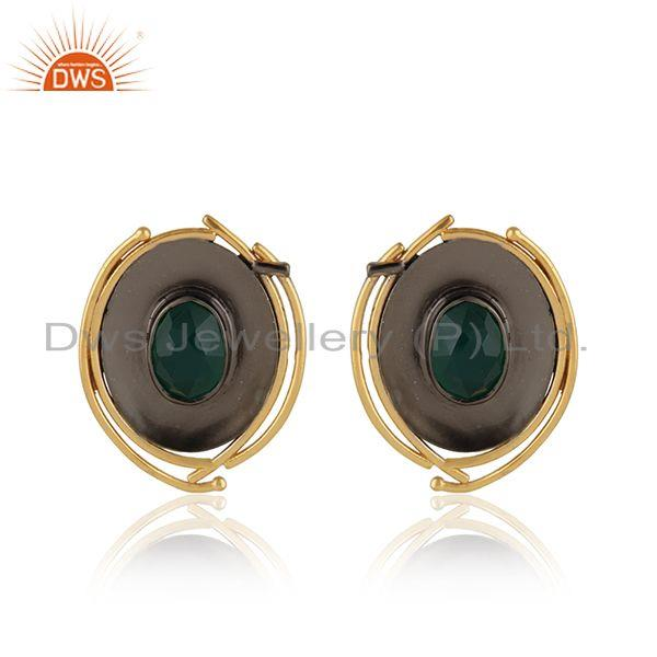 Oval Shape Design Green Onyx Gemstone Brass Fashion Stud Earrings