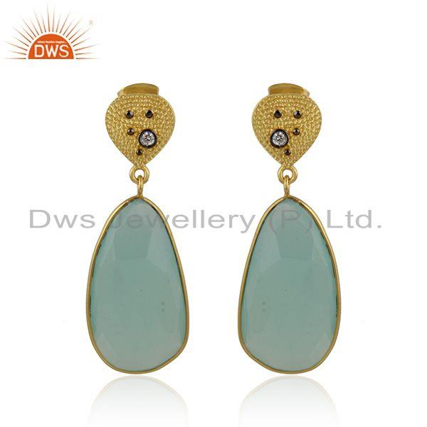 Cz and aqua chalcedony gemstone handmade brass fashion earrings