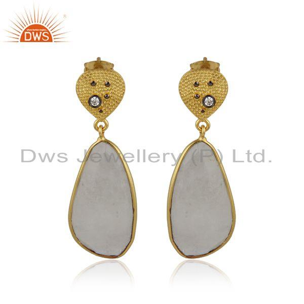 Rainbow moonstone cz womens handmade brass fashion earrings