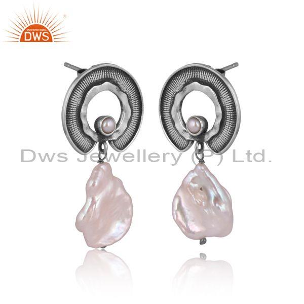Pearl and fresh water pearl set oxidized 925 silver earrings