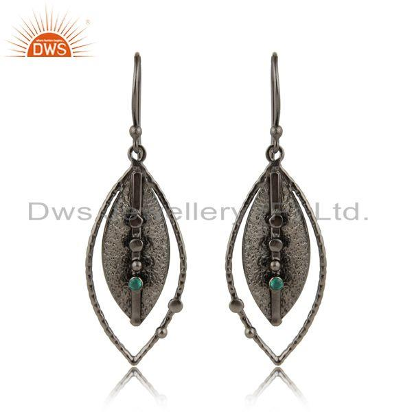 Texture rhodium plated brass green onyx gemstone fashion earrings