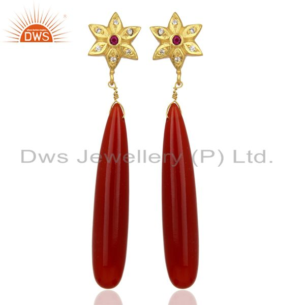 Red Onyx CZ Dangle 18K Yellow Gold Plated Brass Earrings Gemstone Jewelry