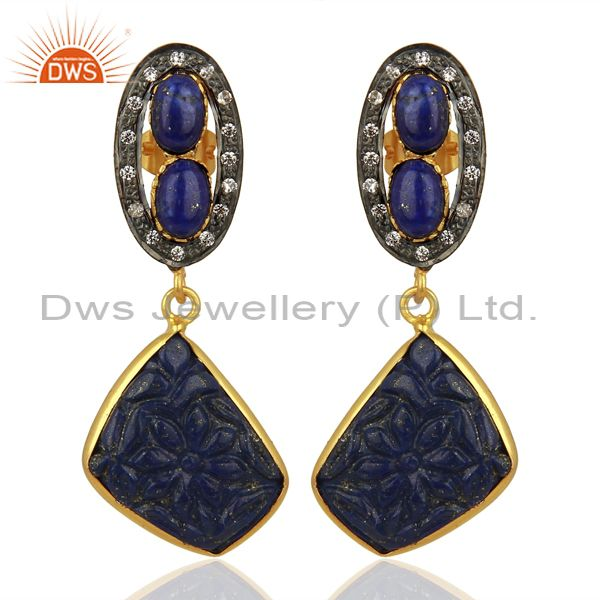 Lapis Lazuli CZ Dangle 18K Gold Plated Brass Designer Earrings Jewelry