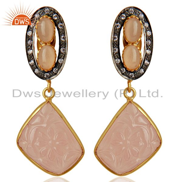 Rose Chalcedony CZ Dangle 18K Gold Plated Brass Designer Earrings Jewelry