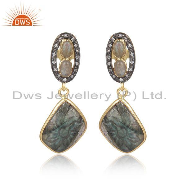 Labradorite, cz set gold and black on silver earrings