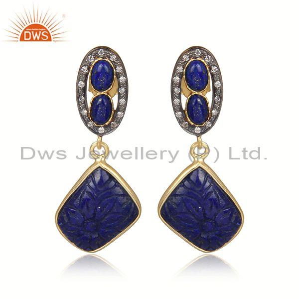 Lapis and cz set gold and black on silver designer earrings