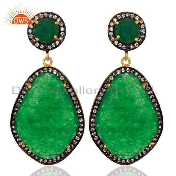 Green Aventurine Gemstone Cubic Zirconia Border 18K Gold Plated Brass Jewellery