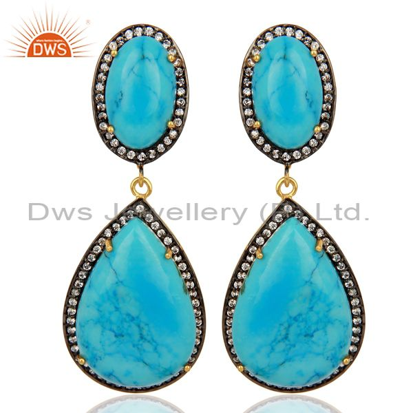 Turquoise Gemstone Cubic Zirconia Border 18K Gold Plated Teardrop Earring