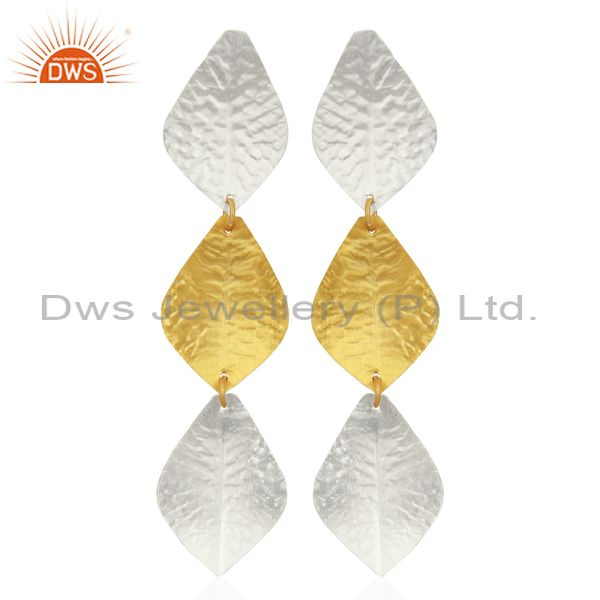 Textured Leaf Design Brass Fashion Earrings Jewelry Wholesale Supplier