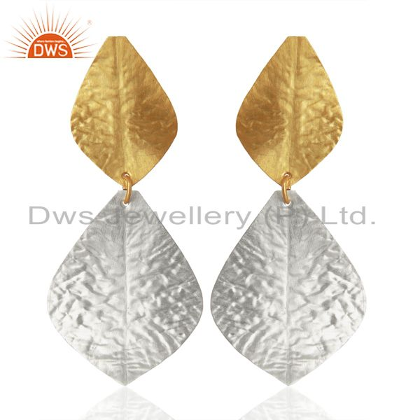 Leaf Design Brass Textured Fashion Earrings Jewelry Manufacturer