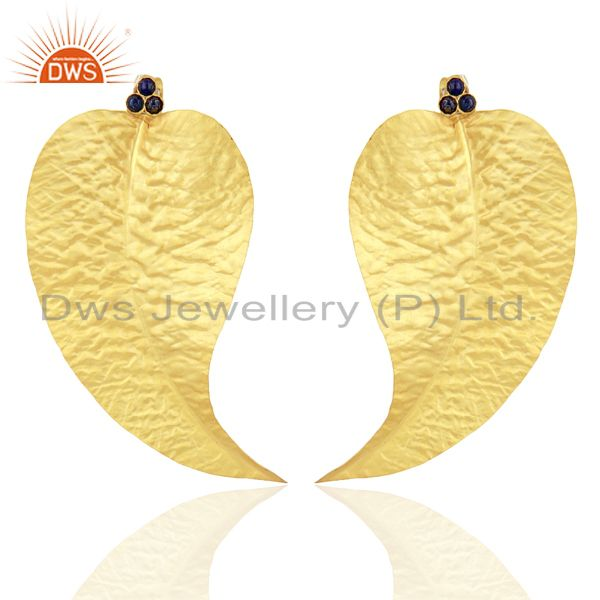 Lapis Gemstone Textured Gold Plated Earrings Jewelry Supplier