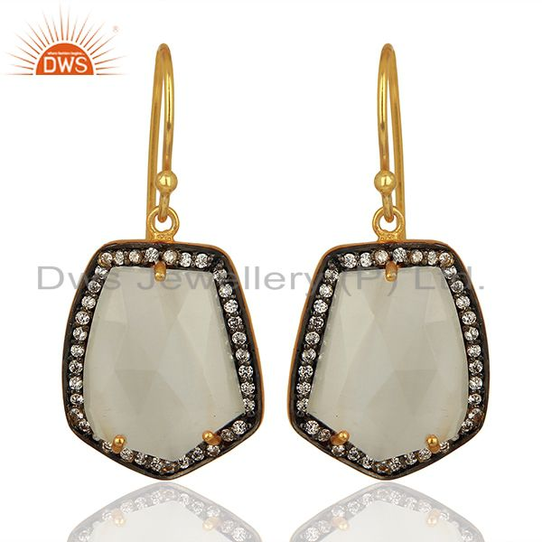 Handmade Gold Plated white Moonstone Cz Gemstone Earrings Jewelry