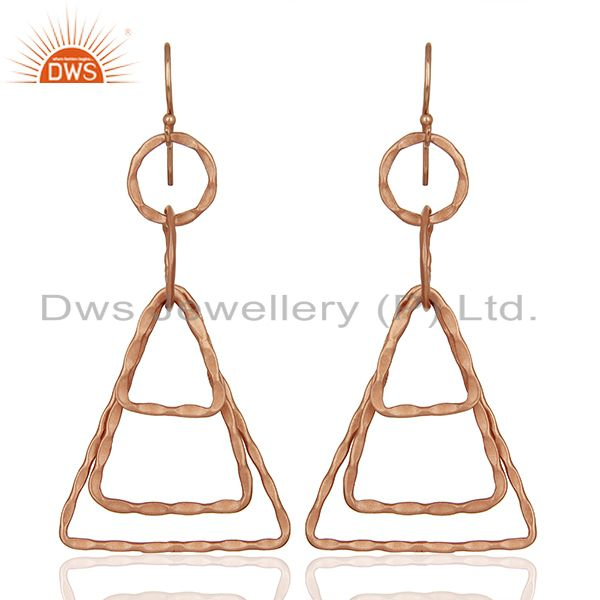Designer Rose Gold Plated Brass Fashion Earrings Jewelry Supplier