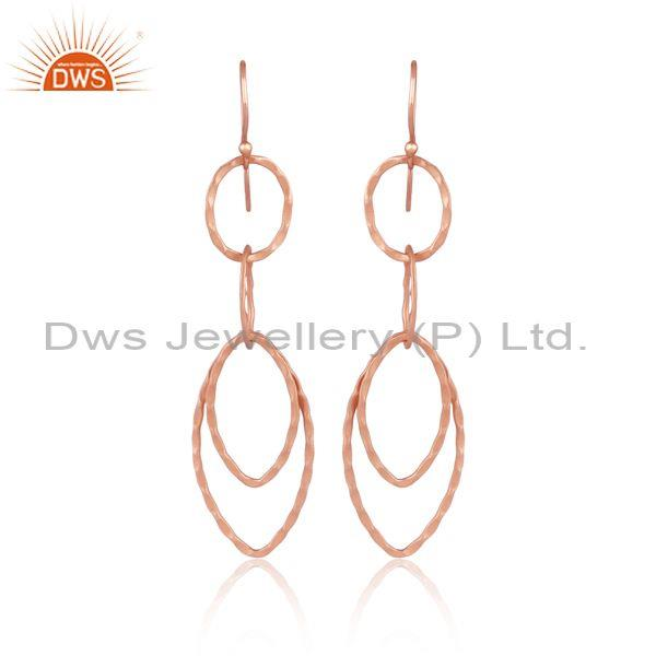 Handmade And Handhammered Rose Gold On Brass Long Earrings