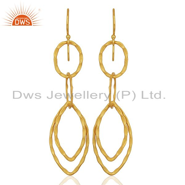 Yellow Gold Plated Designer Girls Fashion Earring Jewelry Manufacturer