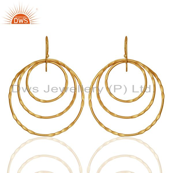 Yellow Gold Plated Brass Fashion Earrings Jewelry Manufacturer