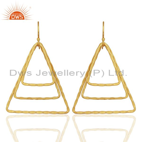Triangle Shape Gold Plated Brass Fashion Earrings Jewelry Supplier