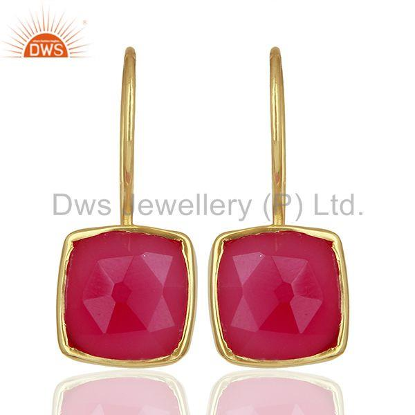 Pink Chalcedony Gemstone Girls Gold Plated Silver Earrings Supplier