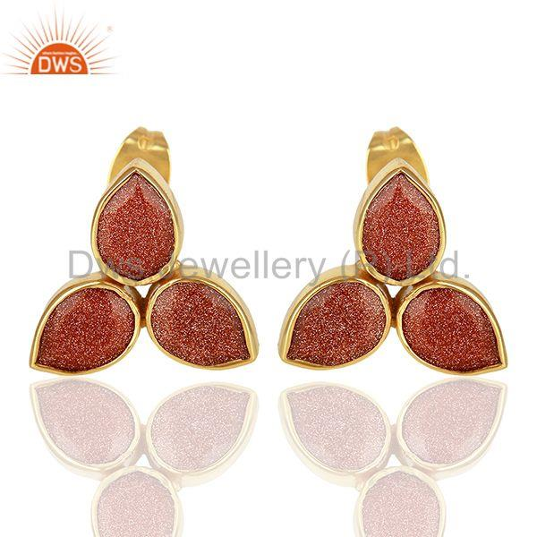 Sun Stone Gold Plated Brass Fashion Stud Earrings Manufacturer
