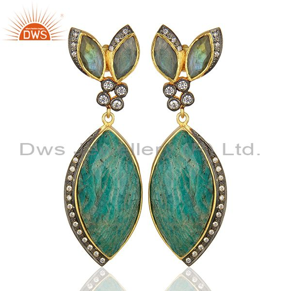 Multi Gemstone Sterling Silver Gold Plated Fashion Earrings Supplier