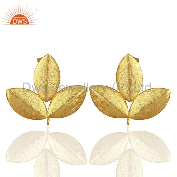 Handmade Leaf Design Gold Plated Stud Earrings connectors Manufacturer