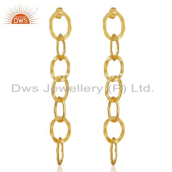 Chain and Link Design Gold Plated Fashion Earrings Manufacturer