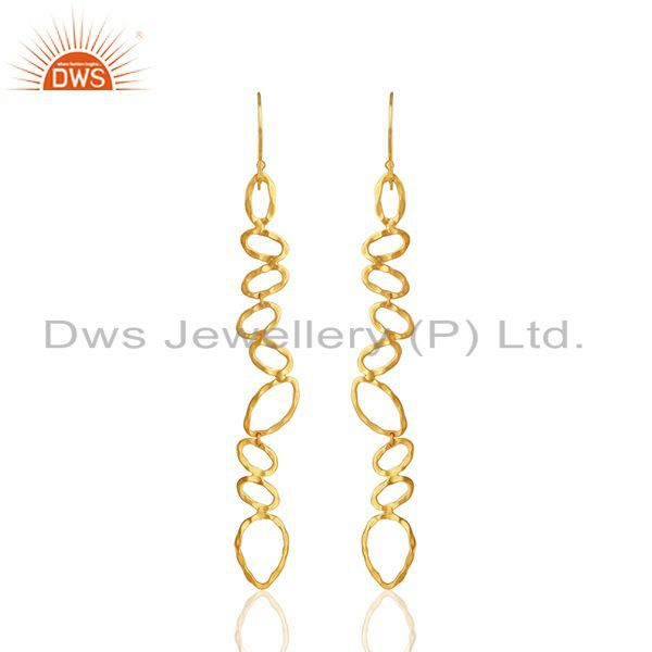 Handmade Brass Gold Plated Fashion Dangle Earrings Manufacturer