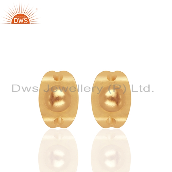 Round Ball Design Gold Plated Brass Fashion Girls Stud Earring