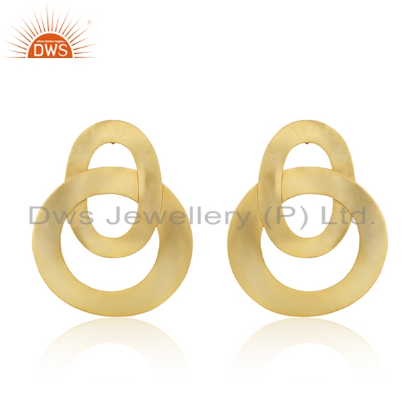 Circle Design Gold Plated Brass Fashion Simple Earrings Manufacturer
