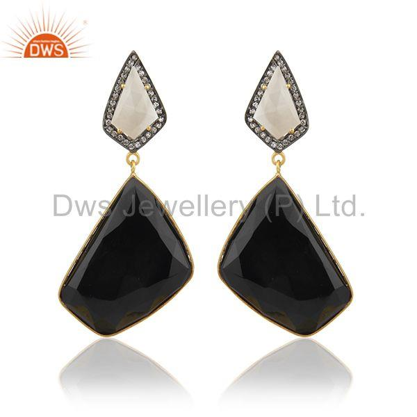 Black onyx Gemstone 925 Silver Clip On Earrings Manufacturer from India