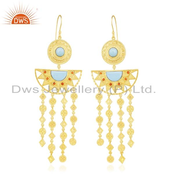 Indian Traditional Gold Plated Fashion Gemstone Chandelier Earring Wholesale