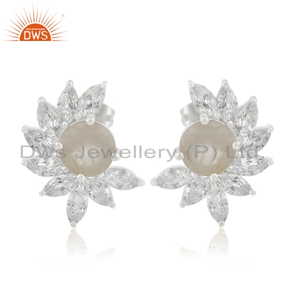 Rainbow Moonstone Brass fashion Stud Earrings Wedding Jewelry Manufacturer India