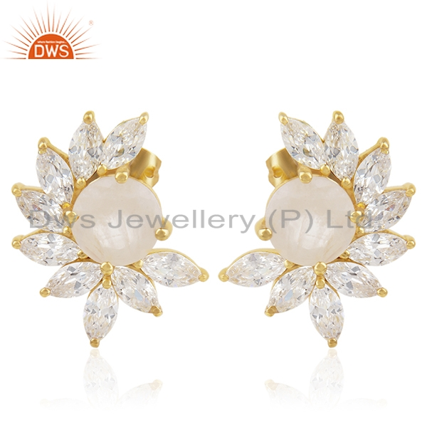 White Zircon and Moonstone New Designer Gold Plated Fashion Stud Earring Jewelry