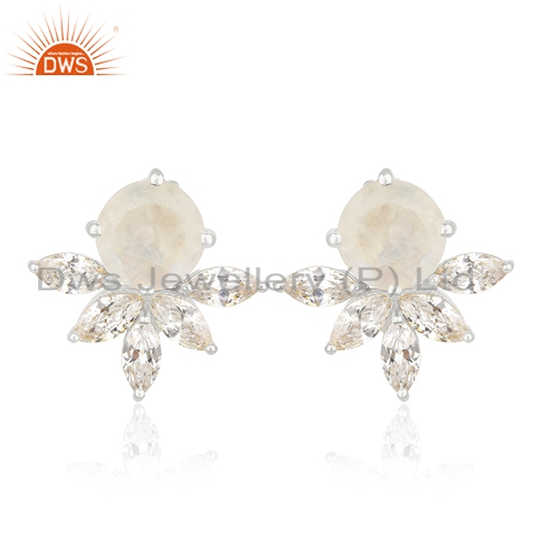 Rainbow Moonstone and White Zircon Brass Fashion Stud Earring Wholesale