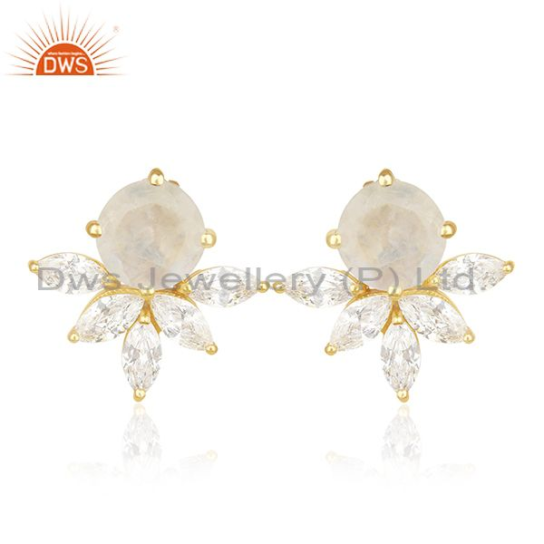 Designer Gold Plated Brass Prong Set Moonstone and Zircon Stud Earring Wholesale