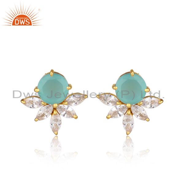 Cz, aqua chalcedony gold on sterling silver floral earrings