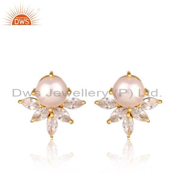 CZ And Pearls Set Gold On 925 Sterling Silver Floral Earring