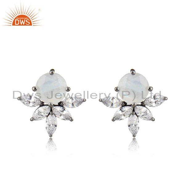 Cz rainbow moonstone gemstone rhodium plated silver stud earrings
