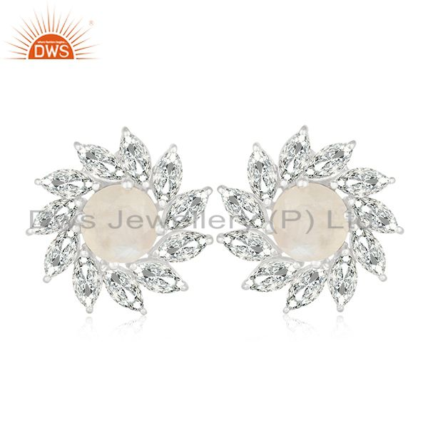 Rainbow Moonstone and White Zircon Silver Plated Brass Stud Earring Manufacturer